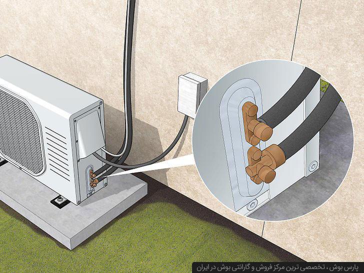 متصل کردن لوله و کابل ها به کندانسور